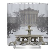 Philadelphia Art Museum From The West In Winter Shower Curtain