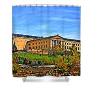 Philadelphia Art Museum From West River Drive. Shower Curtain