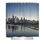 Philadelphia At Dawn From The South Street Bridge Shower Curtain