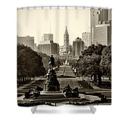 Philadelphia Benjamin Franklin Parkway In Sepia Shower Curtain