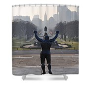 Philadelphia Champion - Rocky Shower Curtain by Bill Cannon