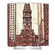 Philadelphia City Hall - Pencil Shower Curtain
