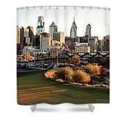 Philadelphia Cityscape From Penn Park In University City Shower Curtain