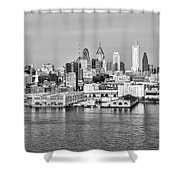 Philadelphia From The Waterfront In Black And White Shower Curtain
