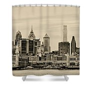Philadelphia From The Waterfront In Sepia Shower Curtain
