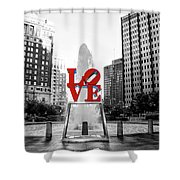 Philadelphia - Love Statue - Slective Coloring Shower Curtain