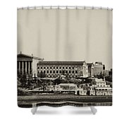 Philadelphia Museum Of Art And The Fairmount Waterworks From West River Drive In Black And White Shower Curtain