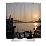 Philadelphia - Penn's Landing Sunrise Shower Curtain