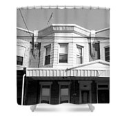 Philadelphia Row Houses - Black And White Shower Curtain
