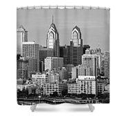 Philadelphia Skyline Black And White Bw Wide Pano Shower Curtain
