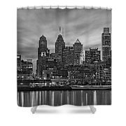 Philadelphia Skyline Bw Shower Curtain