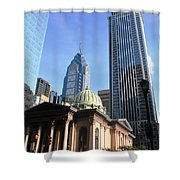 Philadelphia Street Level - Skyscrapers And Classical Building View Shower Curtain