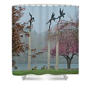 Philadelphia - Three Angels In Spring Shower Curtain