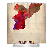 Philadelphia Watercolor Map Shower Curtain