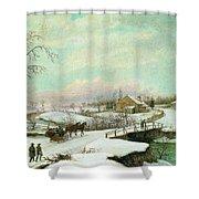 Philadelphia Winter Landscape Ca. 1830 - 1845 By Thomas Birch Shower Curtain