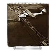 Philippine Clipper A Pan Am Clipper Over The Golden Gate Bridge  1935 Shower Curtain