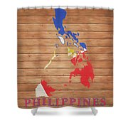 Philippines Rustic Map On Wood Shower Curtain