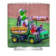 Phillie Phanatic Hot Dog Shooter Shower Curtain