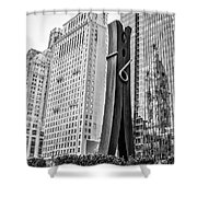 Philly Clothepin And City Hall Reflection In Black And White Shower Curtain