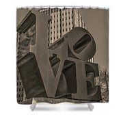 Philly Esque  - Love Statue In Sepia Shower Curtain