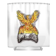 Phoenix Rising Over Burning Game Controller Tattoo Shower Curtain