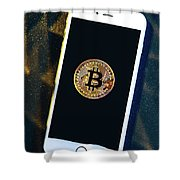 Phone With A Bitcoin Laying On Top Of It. Shower Curtain