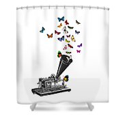 Phonograph And Butterflies Print Shower Curtain