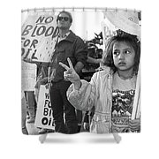 Photography Homage Alfred Eisenstadt Hispanic Girl V For Victory Sign Anti Gulf War Rally Tucson Az Shower Curtain