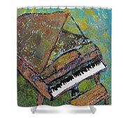 Piano Aqua Wall Shower Curtain