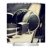 Piano Keyboard And Headphones Shower Curtain