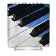 Piano Keys . V2 . Blue Shower Curtain