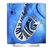 Piano Keys In A Saxophone Blue - Music In Motion Shower Curtain