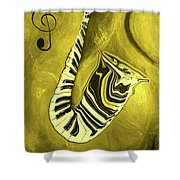 Piano Keys In A  Saxophone Golden - Music In Motion Shower Curtain