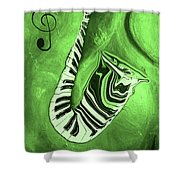 Piano Keys In A  Saxophone Green Music In Motion Shower Curtain