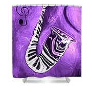 Piano Keys In A Saxophone Purple - Music In Motion Shower Curtain