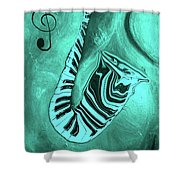 Piano Keys In A  Saxophone Teal Music In Motion Shower Curtain