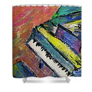 Piano With Yellow Shower Curtain