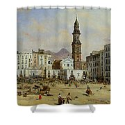 Piazza Mazaniello In Naples Shower Curtain by Jean Auguste Bard