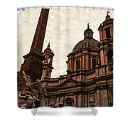 Piazza Navona At Sunset, Rome Shower Curtain