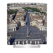 Piazza San Pietro And Colonnaded Square As Seen From The Dome Of Saint Peter's Basilica - Rome, Ital Shower Curtain