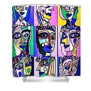 Picasso Blue Women Shower Curtain