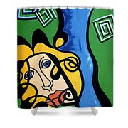 Picasso Influence With A Greek Twist Shower Curtain