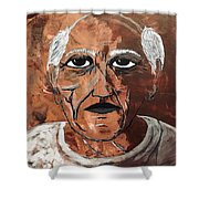 Picasso The Bull In Winter Shower Curtain