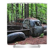 Pick Up Truck In The Woods Shower Curtain