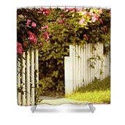 Picket Fence Roses Shower Curtain