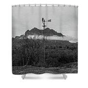 Picket Post Windmill Bw Shower Curtain