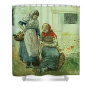 Picking Flowers Shower Curtain by Winslow Homer