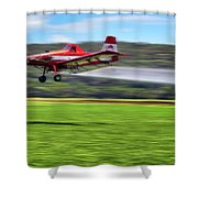 Picking It Up And Putting It Down - Crop Duster - Arkansas Razorbacks Shower Curtain