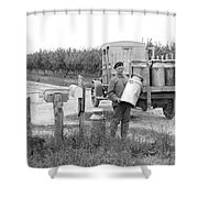 Picking Up Milk Cans Shower Curtain