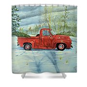 Picking Up The Christmas Tree Shower Curtain